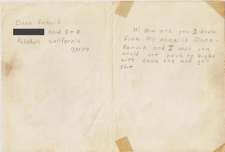 Vietnam veteran Kelly Clark is seeking the public's help in finding the author of this Thanksgiving Card, which was sent to him in 1970 when he was serving in the Vietnam war. (Contributed image shows the inside of the card.) View the front of the card here.