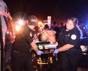 The victim was transported to Antelope Valley Hospital and is listed in critical condition. (LUIS MEZA)