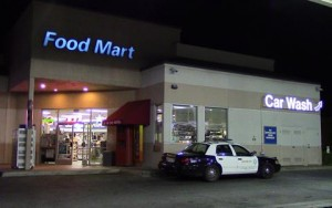 Detectives will be reviewing surveillance video from the Chevron gas station where the victim was allegedly carjacked. (LUIS MEZA)