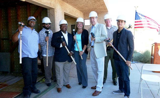 (L to R): Willie Jenkins, General Contractor; Daniel Valdez, Property Owner; Pastor Jeryl Ross, Word of Life Outreach Ministries; Sara Shreves, City of Palmdale - Supervisor of Code and Parking Enforcement; Mayor James C. Ledford, Jr., City of Palmdale; Captain Don Ford, LASD; Jerry Lopez, Victory Outreach Ministries
