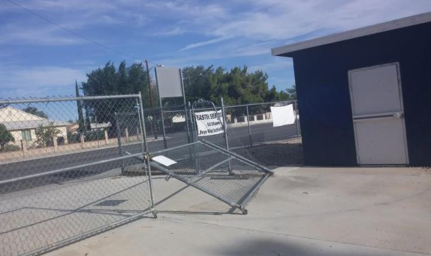Thieves desperate to gain access to the Palmdale Pony Youth Baseball facilities destroyed an entrance gate to the ball field. (Photo by Russ Monette)