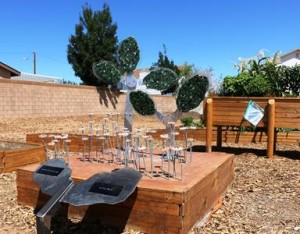 """""""Nature Re-Presented,"""" another work by Mesz, is on display at the City of Palmdale's Community Garden at Neighborhood House #1."""