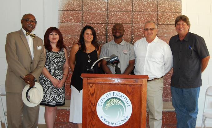(L to R) Kamal Abdul-Jabbaar, AV YouthBuild Board of Directors; Colleen Gulley and Michelle Kiefer, Antelope Valley Partners for Health; Rossie Johnson, Executive Director of AV YouthBuild; Tom Lackey, Palmdale Mayor Pro Tem; and Mike Miller, City of Palmdale Director of Neighborhood Services.