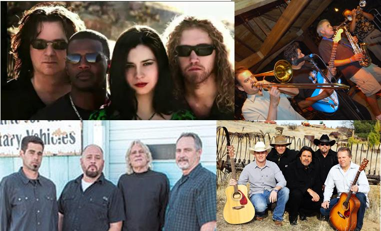 Musical acts will include Emote (top left), The Joel Hatcher Band (top right), Boulevard Knights (bottom left), and Runaway (bottom right). The concert benefits the Wounded Warrior Project, which honors and empowers wounded soldiers by raising awareness and enlists the public's aid for the needs of injured service members.