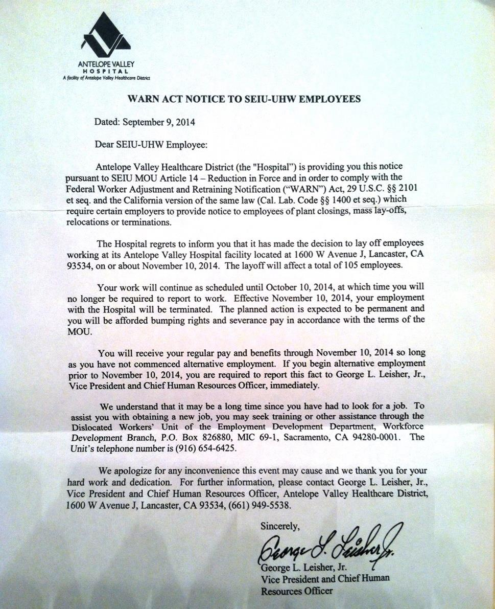 Layoff Letter Canada
