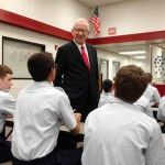 "Rep. Howard ""Buck"" McKeon speaks to Civil Air Patrol cadets at Joe Walker Middle School Sept. 26. (Photo by Jim E. Winburn)"