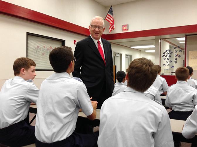"""Rep. Howard """"Buck"""" McKeon speaks to Civil Air Patrol cadets at Joe Walker Middle School Sept. 26. (Photo by Jim E. Winburn)"""