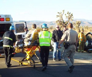 The CHP officer was transported to the hospital, treated and then released, officials said. (LUIS MEZA)