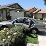In attempting to flee from deputies in the stolen vehicle, the suspects drove onto the front lawn of a home on the 43800 block of Delgado Street. Two of the teens were then captured, while the other teen ran away on foot. He was eventually captured after deputies searched the neighborhood for more than an hour. (Photo courtesy LASD)