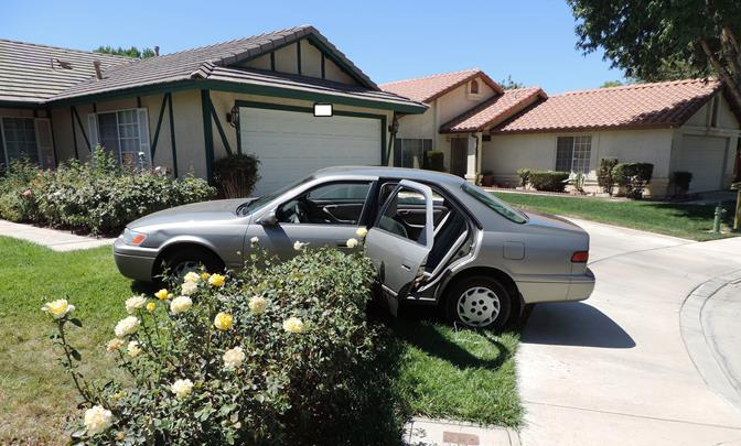 While attempting to flee from deputies in the stolen vehicle, the suspects drove onto the front lawn of a home on the 43800 block of Delgado Street. Two of the teens were then captured, but the third teen ran away on foot. He was eventually captured after deputies searched the neighborhood for more than an hour. (Photo courtesy LASD)