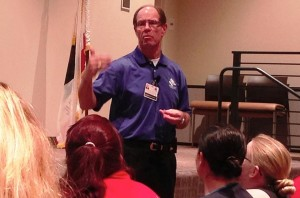 Dennis M. Knox discusses Antelope Valley Hospital's plan for restructuring in an informational session with with employees and local residents in September of 2014. (File photo by JIM E. WINBURN)