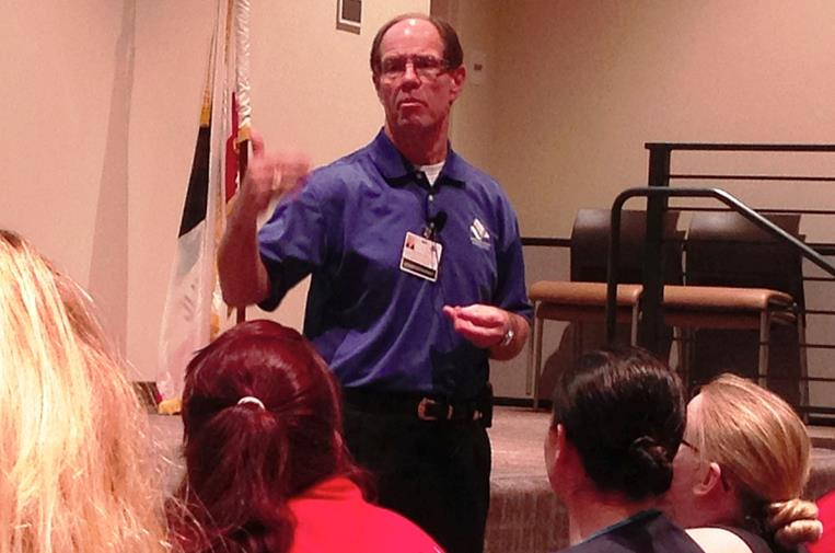 Antelope Valley Hospital CEO Dennis M. Knox on Friday discussed the health care facility's plan for restructuring in an informational session with about 250 employees and members of the community. (Photo by JIM E. WINBURN)