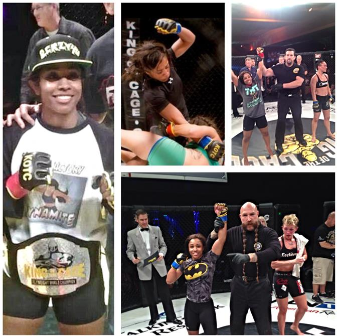 """Danielle """"Dynamite"""" Taylor, who was a strawweight champion for King of the Cage as an amateur, is currently 3-0 undefeated as a professional, according to her trainer and manager, Rene Leyva. (Contributed photos)"""