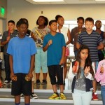 "At the dedication ceremony, Mrs. Thomas' 6th grade class sang the new school song, ""Enterprise Our Home."""