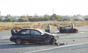The fatal collision occurred just before 4 a.m., Saturday, Sept. 27 on Avenue S at Sierra Highway in Palmdale. (LUIS MEZA)