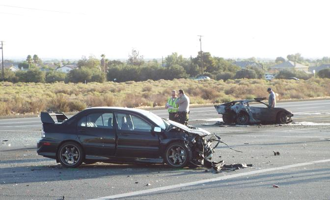 The fatal collision occurred just before 4 a.m., Saturday, Sept. 27 on Avenue S at Sierra Highway in Palmdale. (Photo by LUIS MEZA)