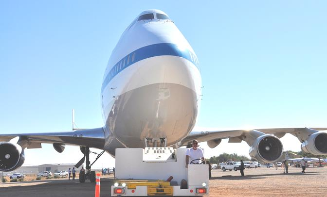 NASA employee Donald Bailes towed the Shuttle Carrier Aircraft less than a mile from the NASA Armstrong aircraft operations facility to the nearby Joe Davies Heritage Airpark in Palmdale.
