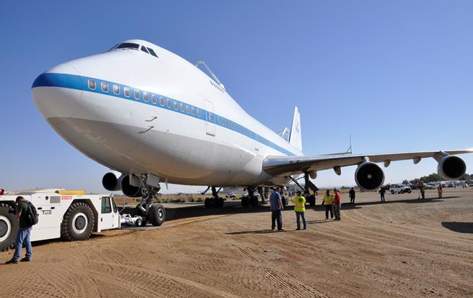 """""""Having the Shuttle Carrier come over here is part of our Antelope Valley history and a part of Palmdale's history because it was built right across the way at Boeing in Plant 42,"""" said Kathleen Whiteside, Facility Coordinator for Joe Davies Heritage Airpark. """"It's a very big honor and a privilege to have it here; hopefully, we'll be able to turn the inside of it into a museum and actually show part of the shuttle history and what transpired here in the Valley."""""""