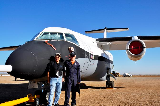 """Also added to the Joe Davies Airpark collection on Friday was the X-55 Advanced Composite Cargo Aircraft, donated by Lockheed Martin. X-55 Pilots Joe Biviano (left) and Rob """"Skid"""" Rowe (right) posed for a picture in front of the aircraft Friday morning."""