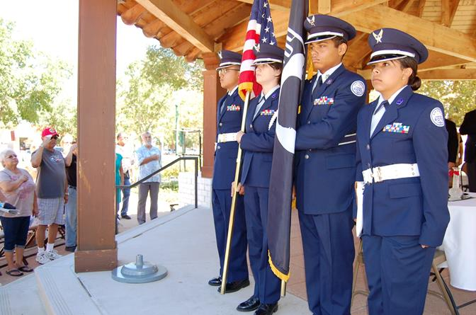 The Posting of Colors was conducted by the Highland High School Air Force JROTC.