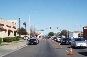 A westbound lane on Palmdale Boulevard, between Sierra Highway and 9th Street East, was closed to traffic all Tuesday afternoon as detectives investigated the scene. (LUIS MEZA)