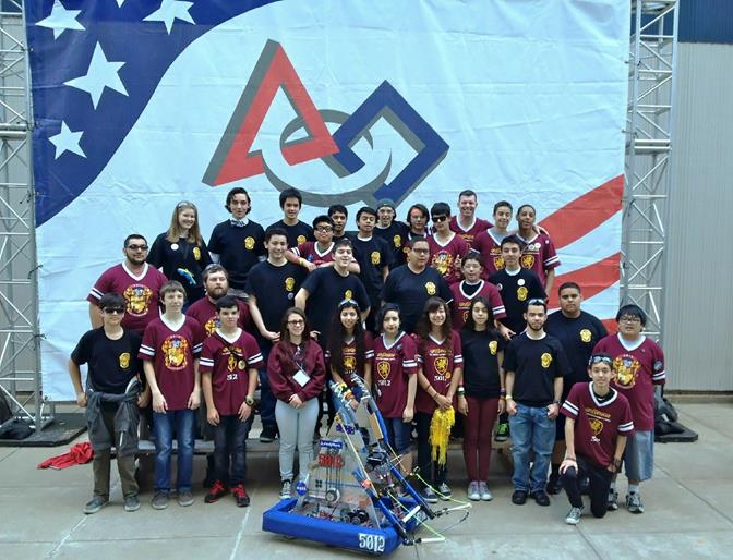 The Gryffingear team members (pictured) have put in many off-season hours to re-build the practice bots to get ready for the competition, according to Robotics Advisor Brian Martin. (Contributed)