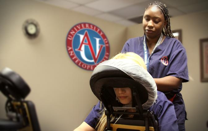 Raenell Weatherspoon is a massage therapy student at UAV and currently completing her externship at Haddad Chiropractic in Lancaster. The mother of six is ready to confront any obstacle while remaining in good spirits, and she is a morale booster for other students, according to UAV staff. (Contributed photo)