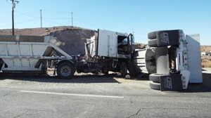 The eastbound lanes of Pearblossom were closed from about two hours, while the westbound lanes remained closed until about 7:15 p.m. due to diesel spill clean up. (LUIS MEZA)