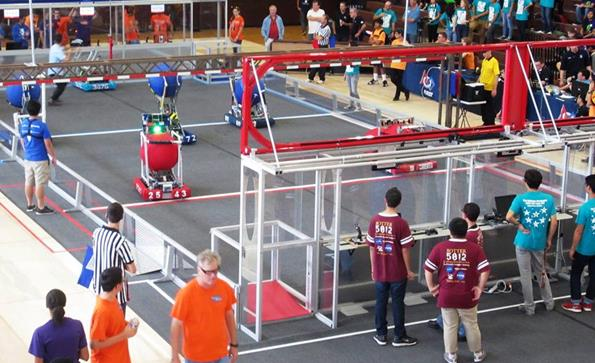 Two Antelope Valley robotics teams attended a Battle at the Border Oct. 25 at Francis Parker School in San Diego. (Photo courtesy TPAA)