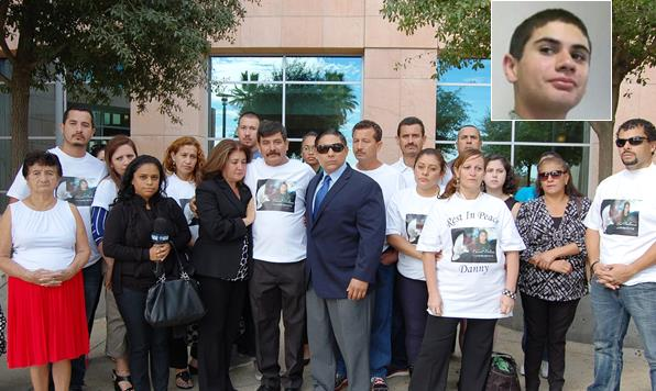 Nearly two dozen family members and close friends of Daniel Orellana (top right) gathered outside the Antelope Valley courthouse Thursday following a court appearance for Jeffrey Brooks. Brooks is charged with one count of murder in connection with Orellana's death.