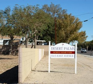 Desert Palms mobile home park is located at 2515 East Avenue I in Lancaster.