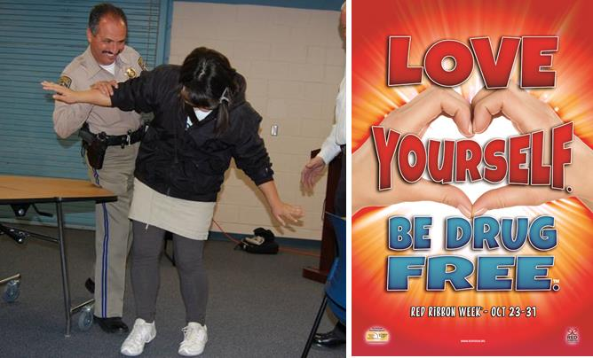 "Young people taking part in the CHP's Red Ribbon Week event this Saturday may have the chance to put on ""DUI-simulated goggles,"" which gives a perspective on how vision is impaired when drunk (left). The 2014 Red Ribbon theme is ""Love Yourself. Be Drug Free."" (right)"