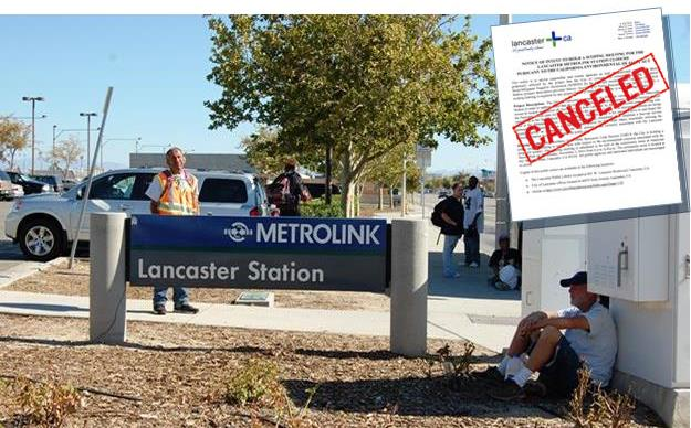 The City of Lancaster has canceled a Nov. 5 scoping meeting for the proposed closure of the Lancaster Metrolink Station. Click the image to view the cancellation notice.