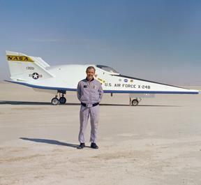 cMurtry is pictured with the X-24B lifting body after he made the 36th and final flight in the unique craft on Nov. 26, 1975. (NASA)