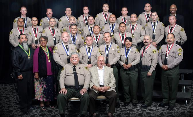 Six personnel from the Lancaster Station and a 66-year-old local grandmother were among those honored for bravery and heroism at the Sheriff Department's annual Valor Awards Ceremony Thursday, Oct. 2, 2014. (Photo courtesy LASD)