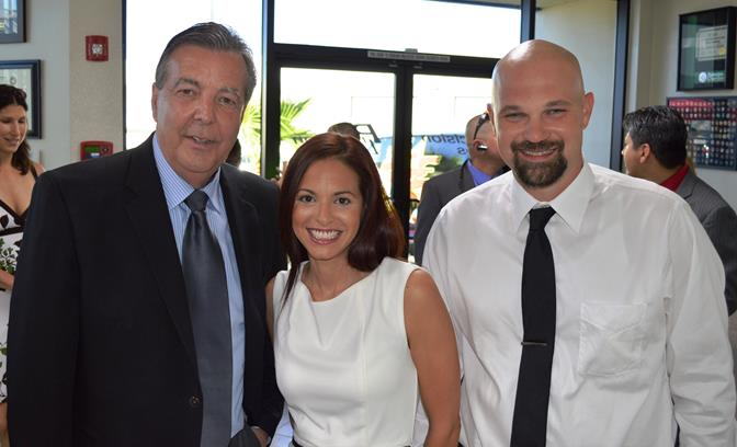 So-Cal Solar Inc. Vice President Xiomara Roman (center) decided to donate a solar system to a disabled Antelope Valley veteran recently after hearing the veteran's story at a public utilities meeting in Palmdale. Roman is pictured with Palmdale Mayor Jim Ledford (left) and So-Cal Solar Inc. President Todd Ayers at a recent event.  [Contributed photo]