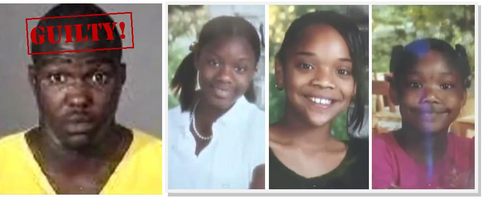 Corey King is guilty of killing Ebony Horton, 13, Melinda Harris, 11, Kayla Clark, 9, and their mother Sonya Durfield Harris (not pictured).  The four victims were found dead in their burning Lancaster home on Sept. 9, 2008. During the penalty phase of the trial, the jury heard evidence that King committed another murder in May 2008 in Altadena. In that case, King allegedly bludgeoned a 90-year-old woman to death and then set her house on fire.