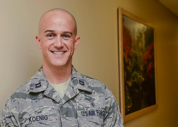 """Capt. Eric Koenig, 412th Aerospace Medicine Squadron dentist, accepted an offer from Paramount Pictures to purchase one of his screenplays, """"Matriarch,"""" on Veterans Day. (U.S. Air Force photo by Rebecca Amber)"""