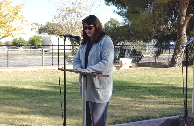 Lt. Col. Traci Scott (retired), Commander of Joe Walker Middle School Civil Air Patrol Squadron 804 spoke about the importance of the Wreaths Across America project and urged attendees to support the local effort.