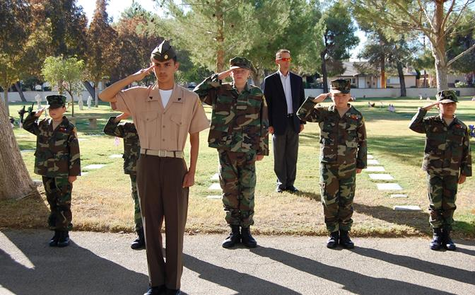 The Antelope Valley Young Marines came out to support local veterans. Congressman-elect Steve Knight (background) also attended the ceremony.