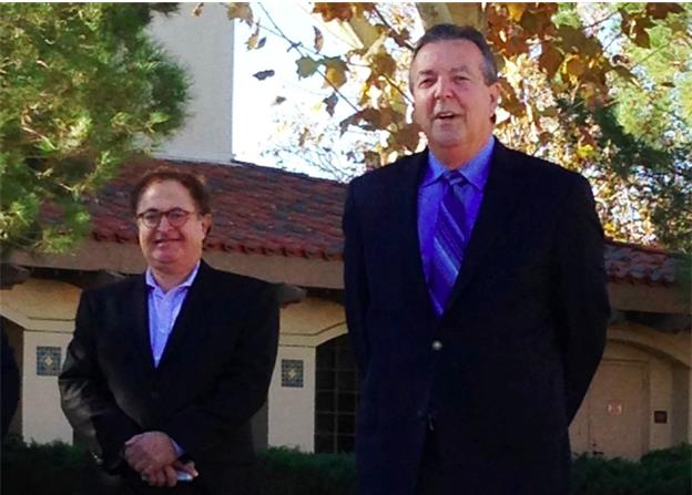 Palmdale Mayor Jim Ledford announces the formation of a committee to assess his potential candidacy for the 21st state Senate District seat, as Dr. Abdallah S. Farrukh (left), Chair of the Antelope Valley Hospital Board, stands at his side.