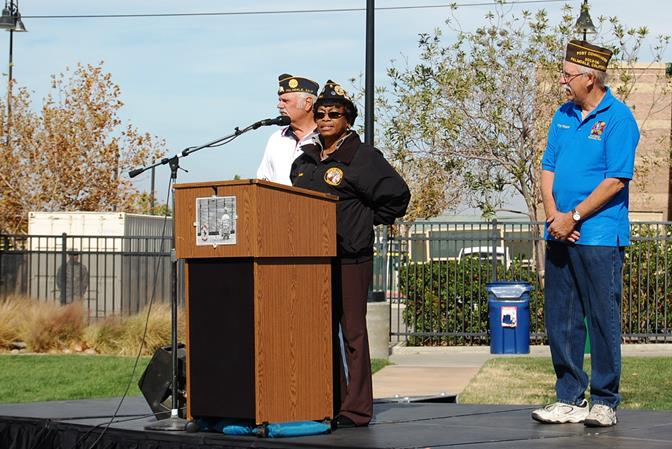 """Sonia Gibbs, Commander of Disabled American Veterans Chapter #39, spoke briefly and thanked attendees for coming out to the ceremony. """"It makes us all feel good to see that we are represented out here,"""" Gibbs said."""