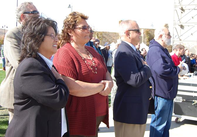 Local dignitaries in attendance includes Palmdale City Council Member and Assemblyman-elect Tom Lackey (third from left), Palmdale Planning Commissioner Patricia Shaw (second from left) and former Palmdale School District Board Member Sandy Sandy Corrales-Eneix (left).