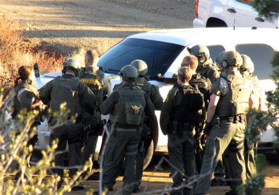 Several unmarked law enforcement vehicles, an armored truck and a special team of officers were in the neighborhood near Barrel Springs Road and Camares Drive in Palmdale Monday morning to search for pipe bombs, sources said. (Contributed photo)