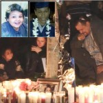 "Nearly 100 people gathered Sunday, Nov. 23, for a candlelight vigil, near Avenue K and 25th Street West, where (upper L to R) Jocelyn ""Jossy"" Montes, 12-year-old Everardo ""Junior"" Simental and 19-year-old Christopher ""Chris"" McGlory died in a traffic crash Nov. 21. (Photo by LUIS MEZA)"