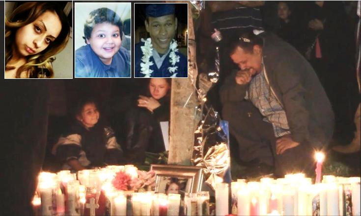 """Nearly 100 people gathered Sunday, Nov. 23, for a candlelight vigil near Avenue K and 25th Street West in Lancaster, the site where (upper L to R) Jocelyn """"Jossy"""" Montes, Everardo """"Junior"""" Simental and Christopher McGlory were killed in a traffic crash Nov. 21. (Photo by LUIS MEZA)"""