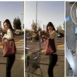 The fraud suspect is described as a white or Hispanic female in her late 20's to early 30's, with brown hair and a thin build. (Images courtesy LASD)
