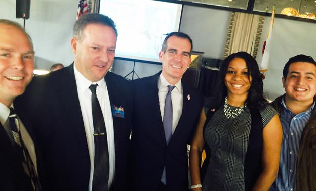 Pictured L to R: Evan Thomas, DCHD Club Member; Gary Cohen, DCHD Volunteer of the Year; Eric Garcetti, Mayor of Los Angeles; Veronica Fields, 1st Vice President of the DCHD; and Brandon Zavala, 2nd Vice President of the DCHD. (Contributed photo)