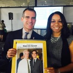DCHD 1st Vice President Veronica Fields presented Los Angeles Mayor Eric Garcetti with a special memento on behalf of Antelope Valley residents, a photo of Garcetti and his father taken by Fields during the 2013 Los Angeles mayoral campaign. (Contributed)