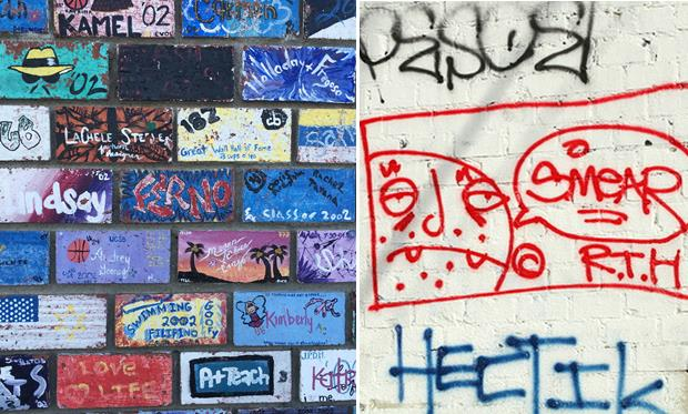 [Left: A portion of the brick mural at Lancaster High School. Right: Graffiti in Los Angeles, circa 2006, courtesy Wikipedia.]